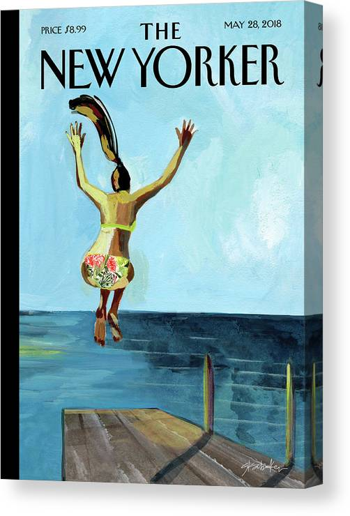 Jump! Canvas Print featuring the painting Jump by Gayle Kabaker