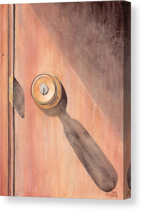 Door Canvas Print featuring the painting Knob And Shadow by Ken Powers