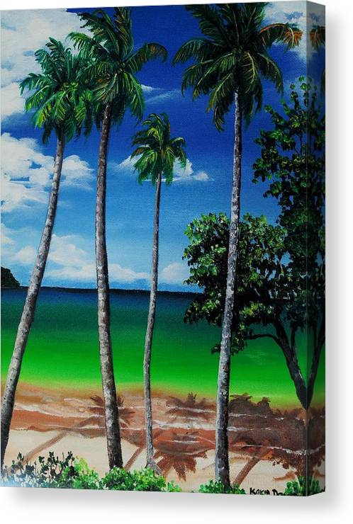 Trinidad Seascape Canvas Print featuring the painting Las Cuevas Bay by Karin Dawn Kelshall- Best