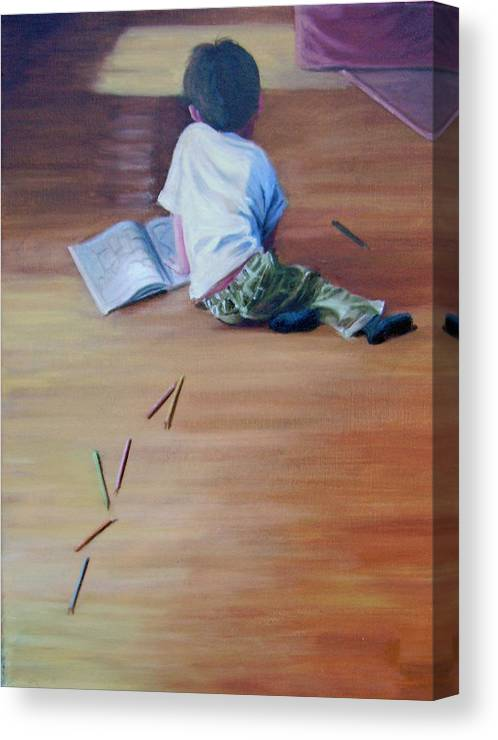 Boy Canvas Print featuring the painting Le Petit Artiste by Tahirih Goffic