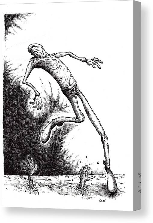 Black And White Canvas Print featuring the drawing Leap by Tobey Anderson