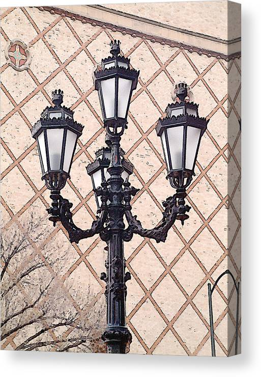 Urban Canvas Print featuring the photograph Lightpost by Carl Perry