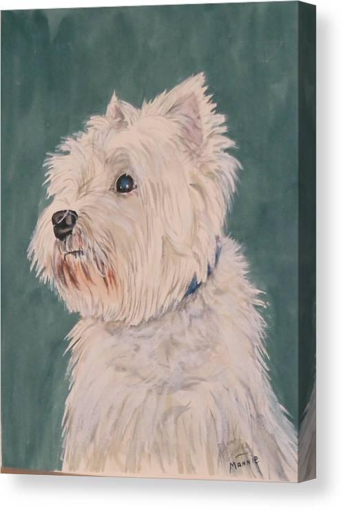 Dog Canvas Print featuring the painting Mannie by Diane Ziemski