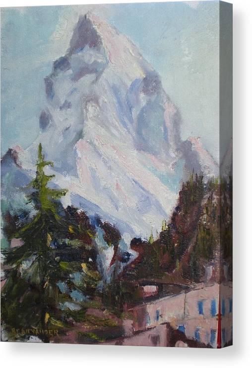 Switzerland Historic Climbing Mountain Canvas Print featuring the painting Matterhorn At 8 Pm by Bryan Alexander