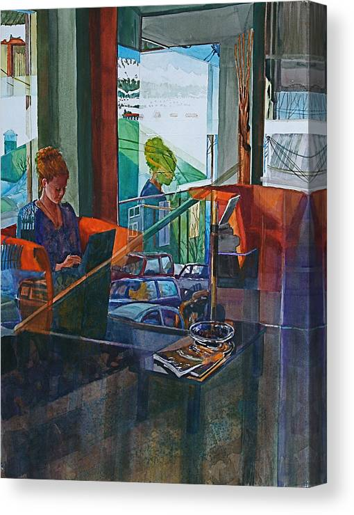 Figure Canvas Print featuring the painting Message from Ushuaia by Carolyn Epperly