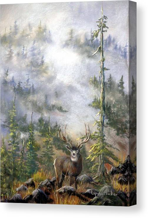 Mule Deer Canvas Print featuring the painting MIsty Forest with Mule Deer by Lynne Parker