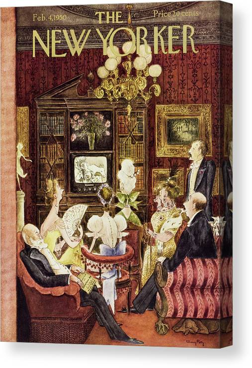 Aristocrats Canvas Print featuring the painting New Yorker February 4 1950 by Mary Petty