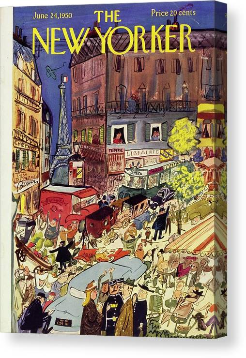 Illustration Canvas Print featuring the painting New Yorker June 24 1950 by Ludwig Bemelmans