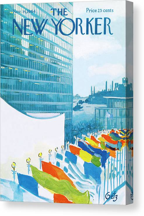 Urban Canvas Print featuring the painting New Yorker November 14th, 1964 by Arthur Getz