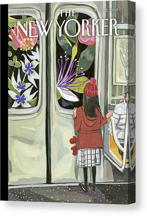 Next Stop: Spring Canvas Print featuring the painting Next Stop Spring by Jenny Kroik