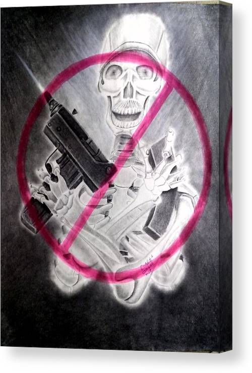 Prison Art Canvas Print featuring the drawing No More Massacres by Donald Cnote Hooker