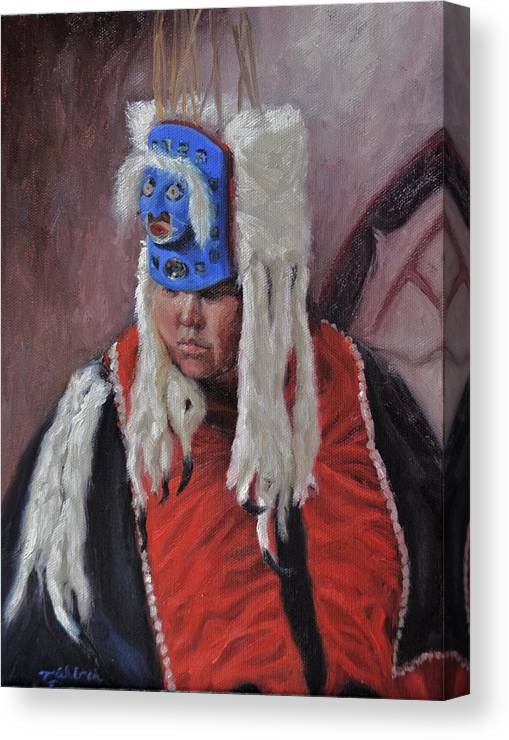 Native American Canvas Print featuring the painting Nuxalk Dancer by Tahirih Goffic