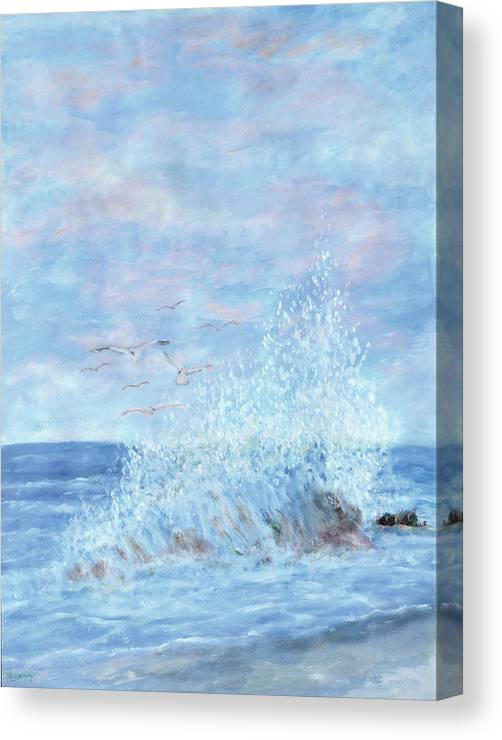 Gulls Canvas Print featuring the painting Ocean Spray by Ben Kiger