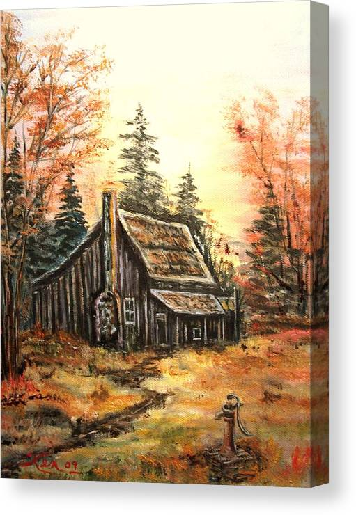 Landscape Old House Pump Canvas Print featuring the painting Old house and Pump by Kenneth LePoidevin