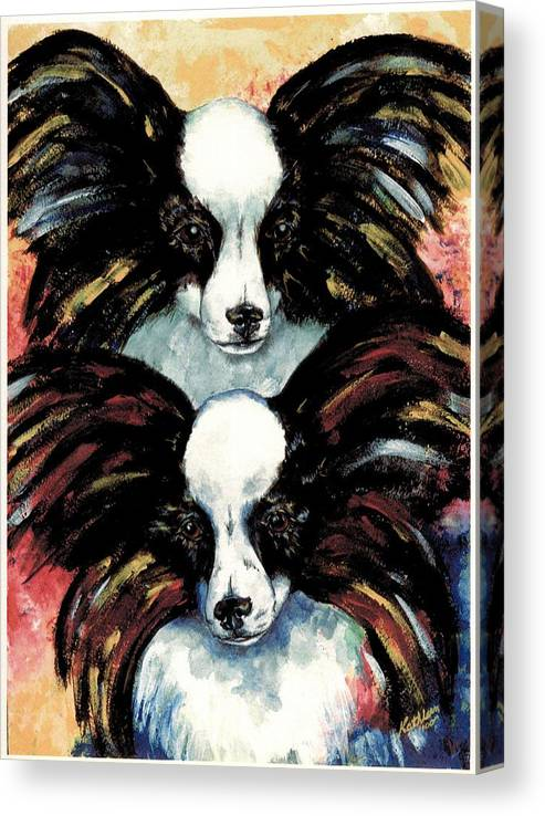 Papillon Canvas Print featuring the painting Papillon De Mardi Gras by Kathleen Sepulveda