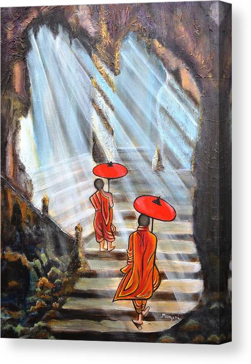 Buddha Canvas Print featuring the painting Path to enlightenment by Manjiri Kanvinde