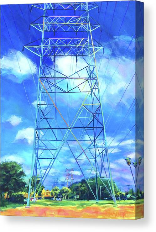 Power Tower Canvas Print featuring the painting Peaceful by Bonnie Lambert
