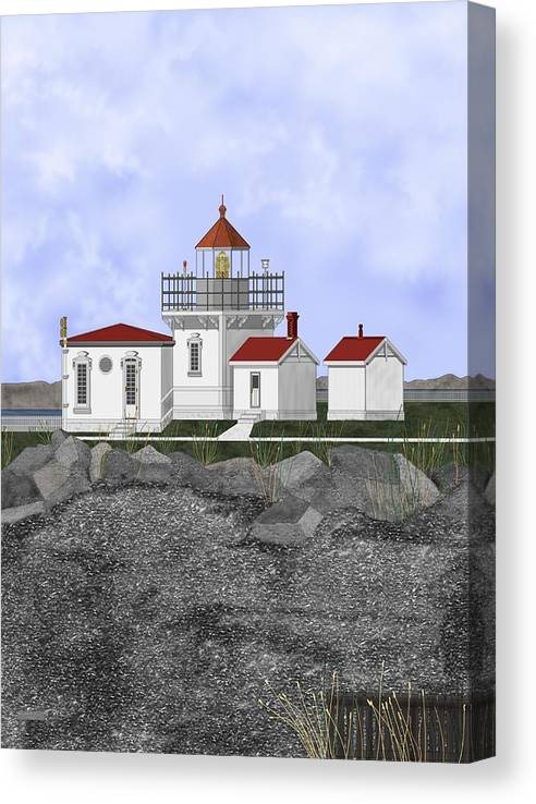 Lighthouse Canvas Print featuring the painting Point No Point Lighthouse by Anne Norskog