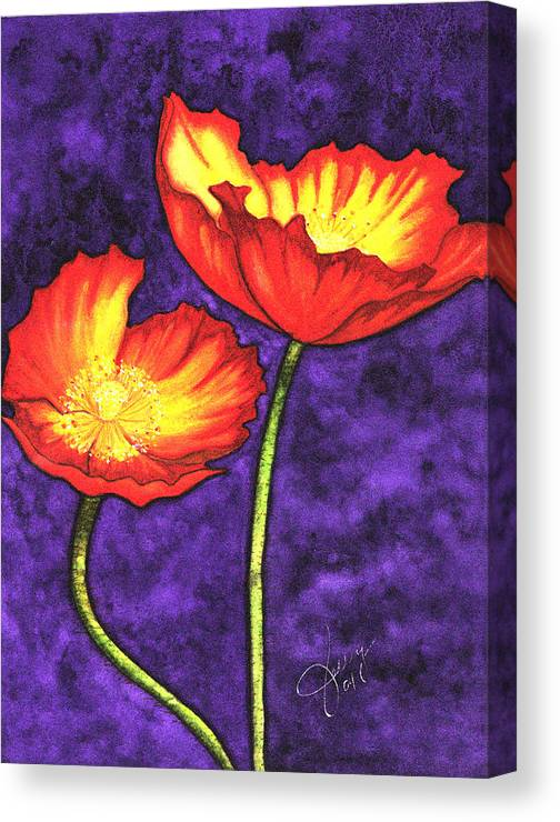 Watercolor Canvas Print featuring the painting Poppies by Stephanie Jolley