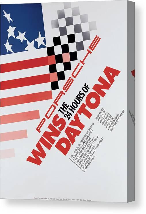 Porsche Canvas Print featuring the digital art Porsche 24 Hours of Daytona Wins by Georgia Fowler