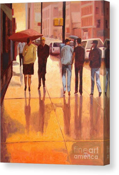 Manhattan Canvas Print featuring the painting Rain in Manhattan number eighteen by Tate Hamilton