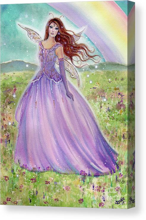 Spring Fairy Canvas Print featuring the painting Rainbow Spring Fairy by Renee Lavoie