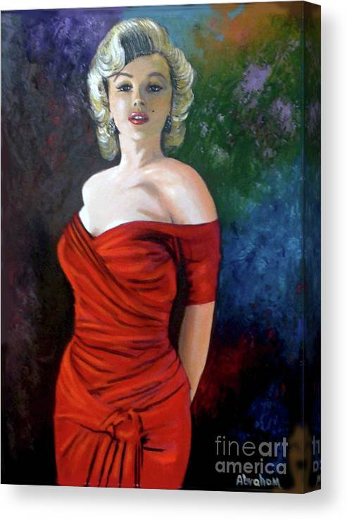 M.monroe Canvas Print featuring the painting Red Dress by Jose Manuel Abraham