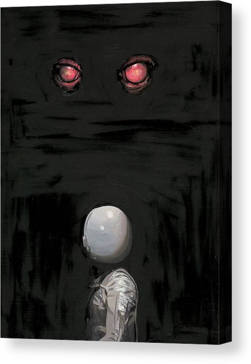 Astronaut Canvas Print featuring the painting Red Eyes by Scott Listfield