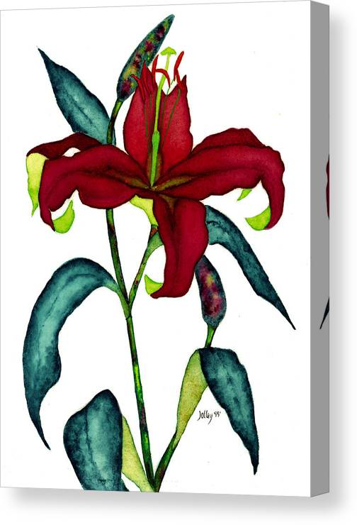 Watercolor Canvas Print featuring the painting Red Lily by Stephanie Jolley