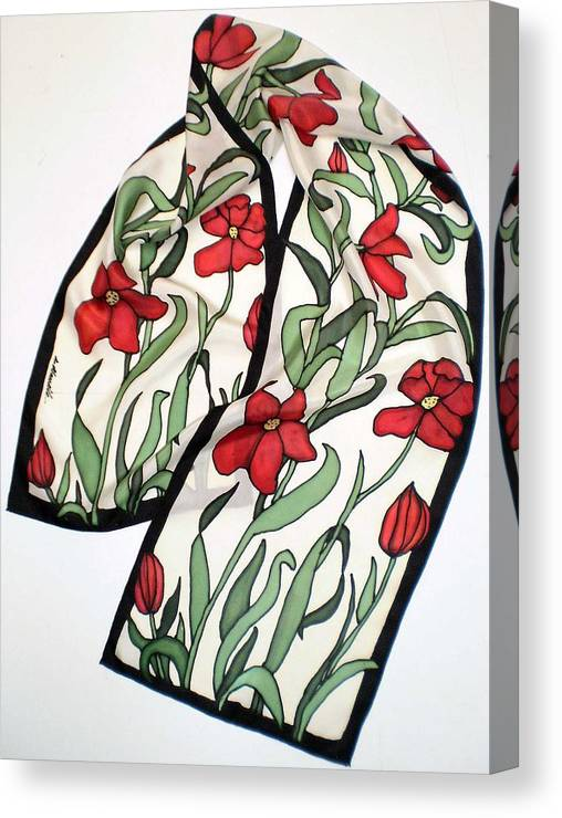 Silk Canvas Print featuring the painting Red Poppies Silk Scarf by Linda Marcille