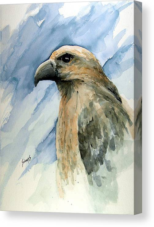 Bird Canvas Print featuring the painting Red by Sam Sidders