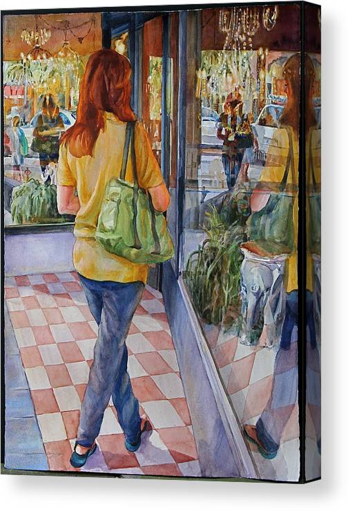 Figures Canvas Print featuring the painting Reflecting Shopping by Carolyn Epperly