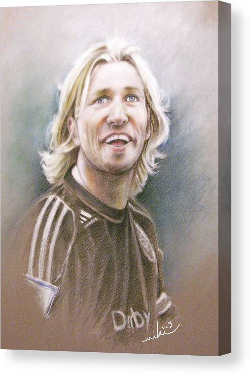 Pastel Portrait Canvas Print featuring the painting Robbie Savage by Miki De Goodaboom