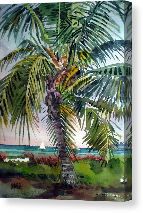 Palm Tree Canvas Print featuring the painting Sailboat in the Keys by Donald Maier