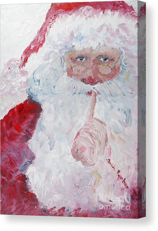 Santa Canvas Print featuring the painting Santa Shhhh by Nadine Rippelmeyer