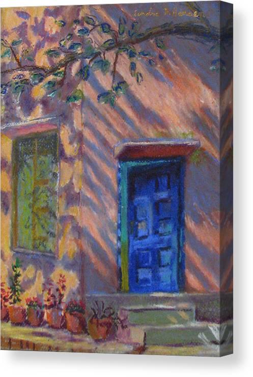 Landscape Canvas Print featuring the painting School Room Door Varanasi India by Art Nomad Sandra Hansen