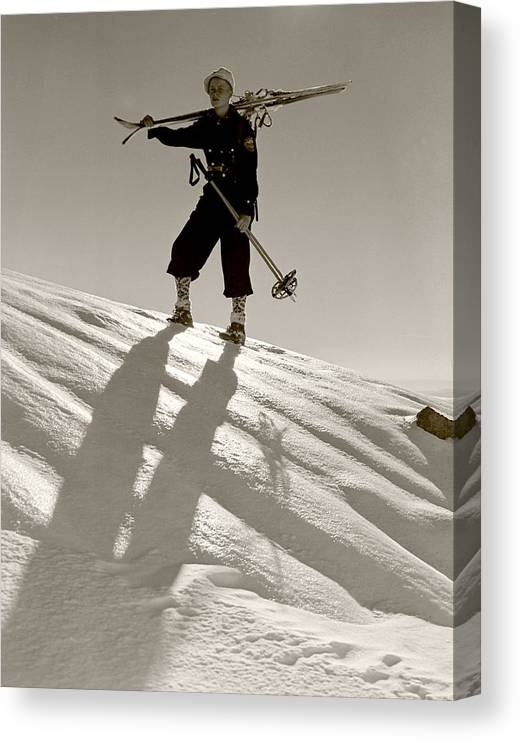Skiing Canvas Print featuring the photograph Skier by Unknown