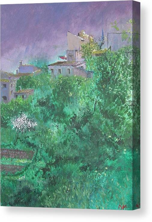 Impressionist Canvas Print featuring the painting Solitary Almond Tree In Blossom Mallorcan Valley by Lizzy Forrester