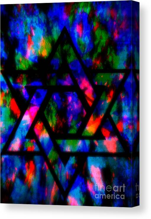 Hebrew Canvas Print featuring the painting Star Of David by Wbk