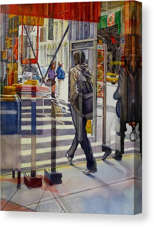 Reflection Canvas Print featuring the painting Stop and Go by Carolyn Epperly