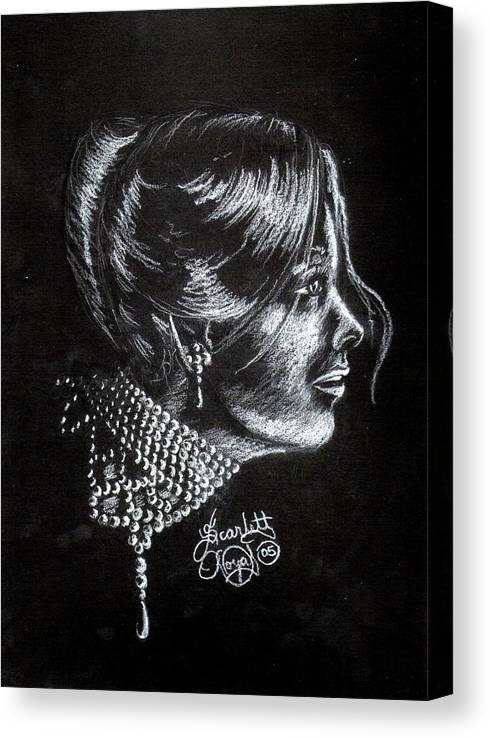 Face Canvas Print featuring the drawing Ten Minute Sketch by Scarlett Royal