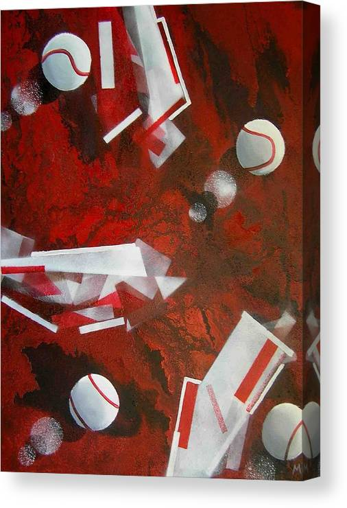 Tennis Balls Canvas Print featuring the painting tennis on Mars by Evguenia Men