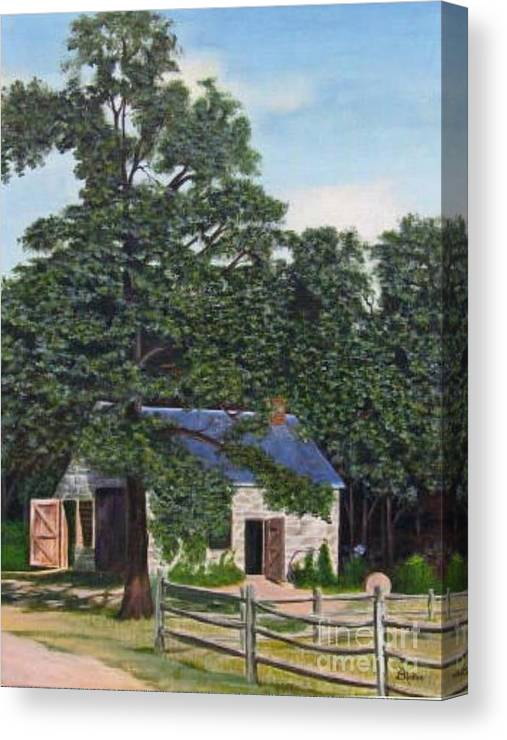 Landscape Canvas Print featuring the painting The Blacksmith Shop by Donald Hofer