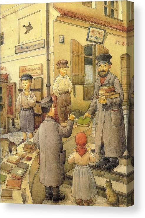 Books Old Town Children Canvas Print featuring the painting The Bookman by Kestutis Kasparavicius