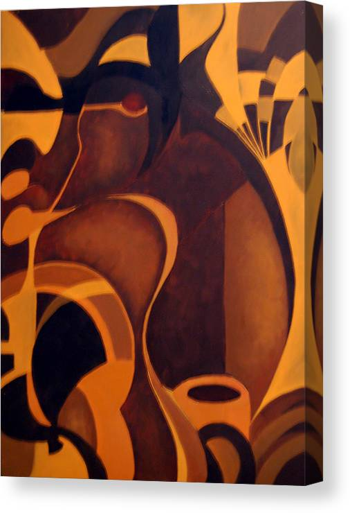 Abstract Canvas Print featuring the painting The Earth Rises Up by DeLa Hayes Coward