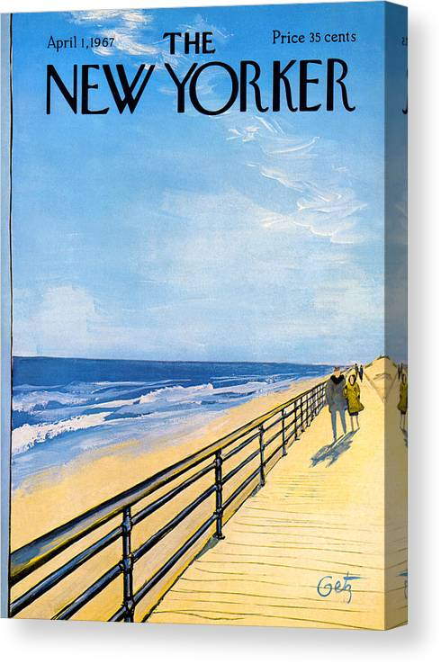 Arthur Canvas Print featuring the painting The New Yorker Cover - April 1st, 1967 by Arthur Getz