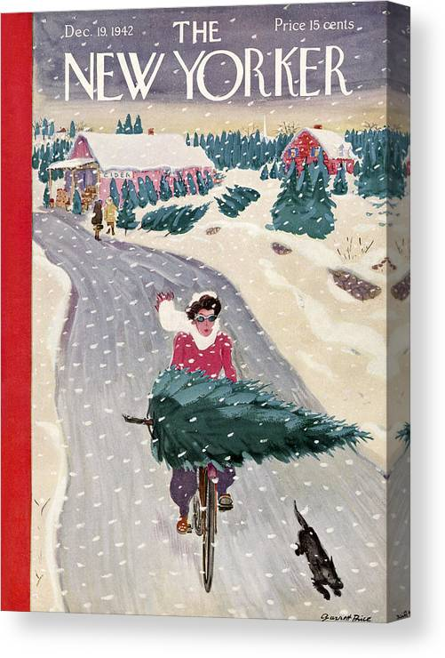 Holidays Canvas Print featuring the painting New Yorker December 19, 1942 by Garrett Price