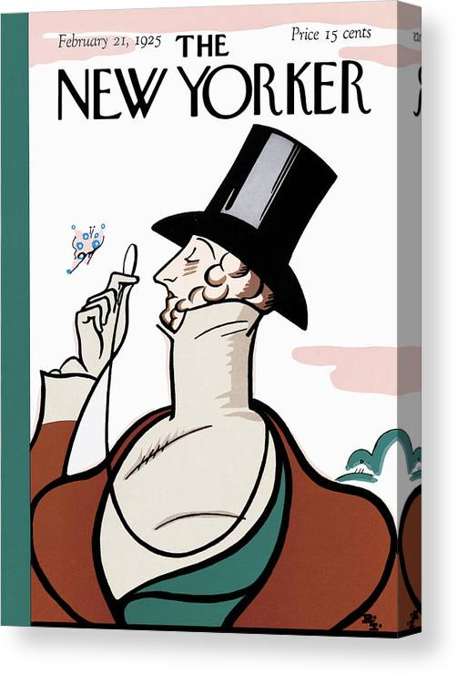 Logo Canvas Print featuring the painting New Yorker February 21st, 1925 by Rea Irvin