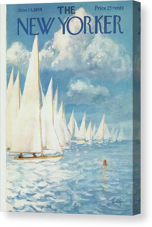 Arthur Canvas Print featuring the painting New Yorker Cover - June 13th, 1959 by Arthur Getz