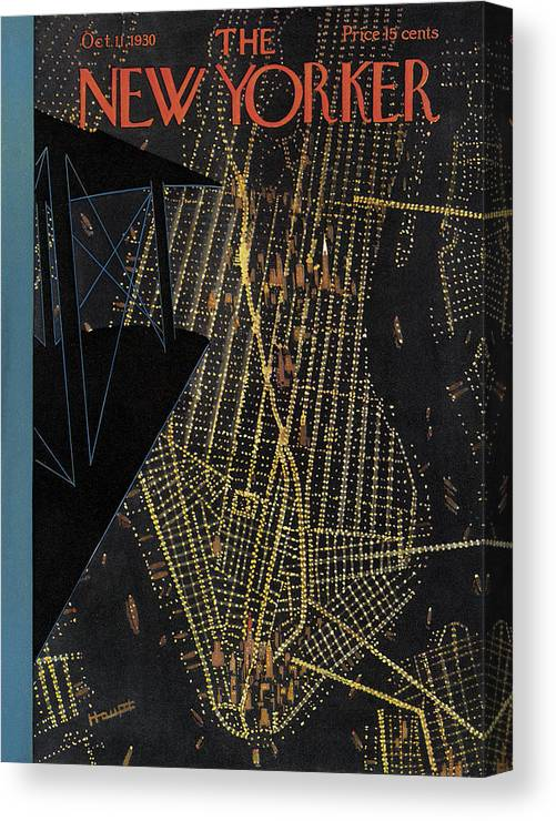 Nyc Canvas Print featuring the painting New Yorker October 11th, 1930 by Theodore G Haupt